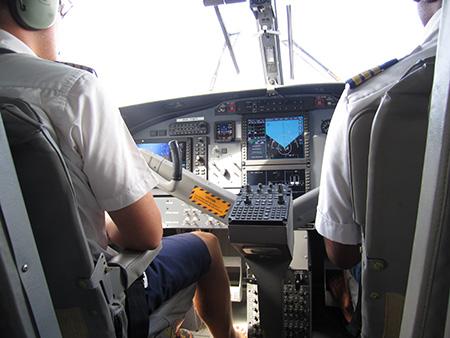 水上飛行機の操縦席